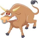 Сердитый шарж быка Стоковое Фото