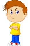 Сердитый шарж мальчика Стоковая Фотография RF