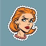 Сердитый ярлык стикера Emoji стороны девушки иллюстрация штока