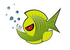 сердитый piranha зеленого цвета шаржа Стоковые Изображения RF