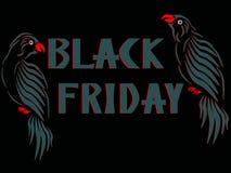 Сер-красные попугаи с обеих сторон сер-красной помечая буквами черной пятницы стоковое изображение rf