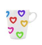 Сердца белой чашки белые красочные изолированные на белизне Стоковое Фото
