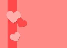 Сердца валентинки и предпосылка ленты Стоковая Фотография RF