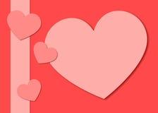 Сердца валентинки и предпосылка ленты Стоковые Изображения