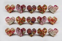 Сердца валентинки Origami Стоковая Фотография