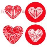 Сердца валентинок красные установленные 4 объектов Стоковая Фотография