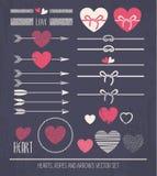 Сердца, веревочки и стрелки Стоковое Фото