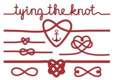 Сердца веревочки и узлы, комплект вектора Стоковые Изображения