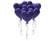 сердца воздушного шара иллюстрации 3D фиолетовые Стоковые Фотографии RF