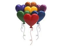 сердца воздушного шара цвета иллюстрации 3D Стоковые Фото