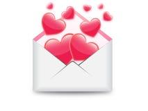 Сердца в иллюстрации электронной почты Иллюстрация вектора