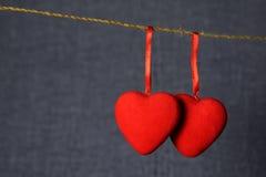 Сердца влюбленности на веревочке Стоковые Фотографии RF