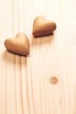 сердца 2 деревянные Стоковая Фотография RF