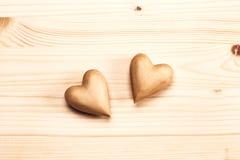 сердца 2 деревянные Стоковые Изображения