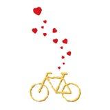 Сердца летания любовника велосипеда от велосипеда Стоковая Фотография RF