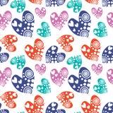 сердца делают по образцу безшовный вектор Предпосылка с красочной символами нарисованными рукой орнаментальными на белизне Декора Стоковые Изображения