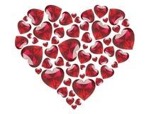 сердца диамантов иллюстрации 3D красные Стоковые Фото