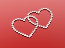 2 сердца диамантов Стоковая Фотография