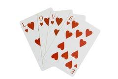Сердца играя карточек ВЛЮБЛЕННОСТИ слова Стоковое Изображение RF