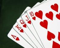 Сердца играя карточек покера близко вверх Стоковое Изображение