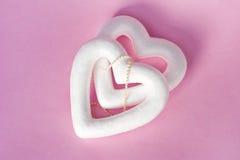 2 сердца и жемчуга Стоковые Фотографии RF