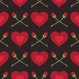 Сердца и картина роз иллюстрация вектора