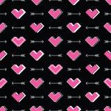 Сердца и картина стрелок безшовная Робот в влюбленности Стоковые Фото