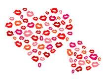 Сердца и поцелуи Стоковые Изображения RF
