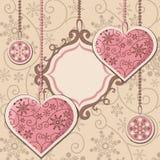 Сердца и рамка Нового Года Стоковые Фото