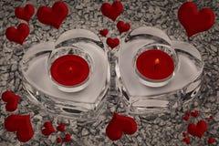 Сердца и светы горящей свечи Стоковое Изображение RF