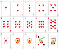 сердца карточек играя комплект Стоковое Изображение