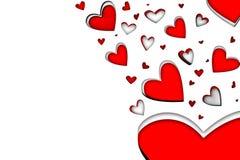 Сердца красного цвета и белых падая Стоковые Изображения