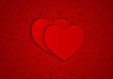 Сердца красного цвета предпосылки вектора иллюстрация штока
