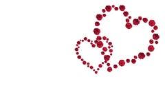 2 сердца красных роз Стоковое Фото
