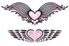 Сердца, крыла Стоковая Фотография RF