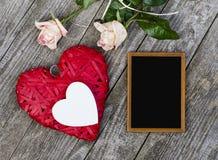 2 сердца, классн классный и розы Стоковые Фотографии RF
