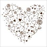 Сердца клокочут и настраивают в силуэте сердца. Стоковое Изображение