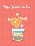Сердца нарисованные рукой в баке Тип шаржа Поздравительные открытки иллюстрация вектора