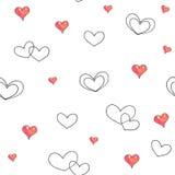 Сердца на белой предпосылке Безшовная картина для конструкции Иллюстрации анимации Ручная работа Стоковая Фотография RF