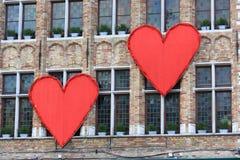 Сердца на здании Стоковые Фотографии RF