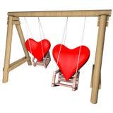 2 сердца на качании Иллюстрация дня валентинок Стоковое Фото