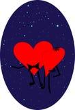 2 сердца на предпосылке ночного неба Стоковые Изображения RF