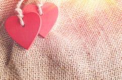 Сердца на предпосылке холста Стоковое Изображение RF