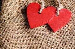 Сердца на предпосылке холста Стоковые Изображения RF