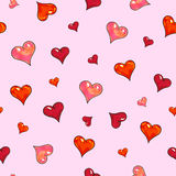 Сердца на розовой предпосылке Безшовная картина для конструкции Иллюстрации анимации Ручная работа Стоковые Фотографии RF