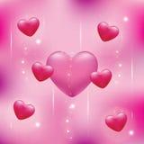 Сердца на розовой предпосылке Стоковая Фотография