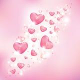 Сердца на розовой предпосылке Стоковые Фотографии RF
