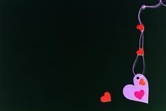 Сердца на черной предпосылке, космосе экземпляра Стоковые Фотографии RF