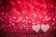 2 сердца на ярких блесках Стоковое фото RF