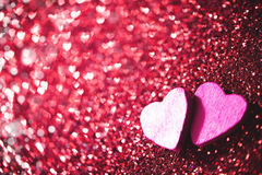 2 сердца на ярких блесках Стоковые Фотографии RF